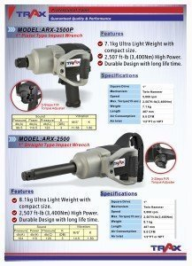 ARX-2500P [1″ Pistol Type Impact Wrench]-ARX-2500 [1″ Straight Type Impact Wrench ]
