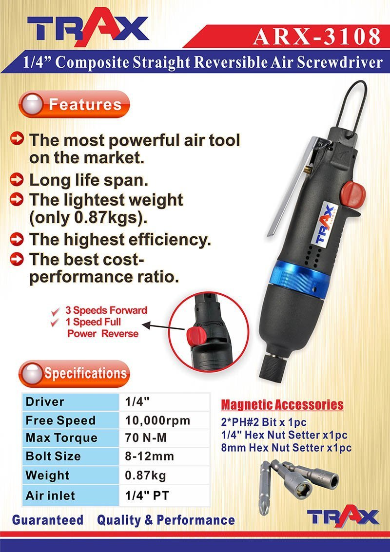 "ARX-3108 [1/4"" Composite Straight Reversible Air Screwdriver]"