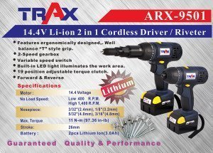 ARX-9501 [14.4v Li-ion 2 in 1 Cordless Driver/ Riveter]