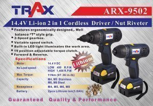 ARX-9502 [14.4V Li-ion 2 in 1 Cordless Driver / Nut Riveter]