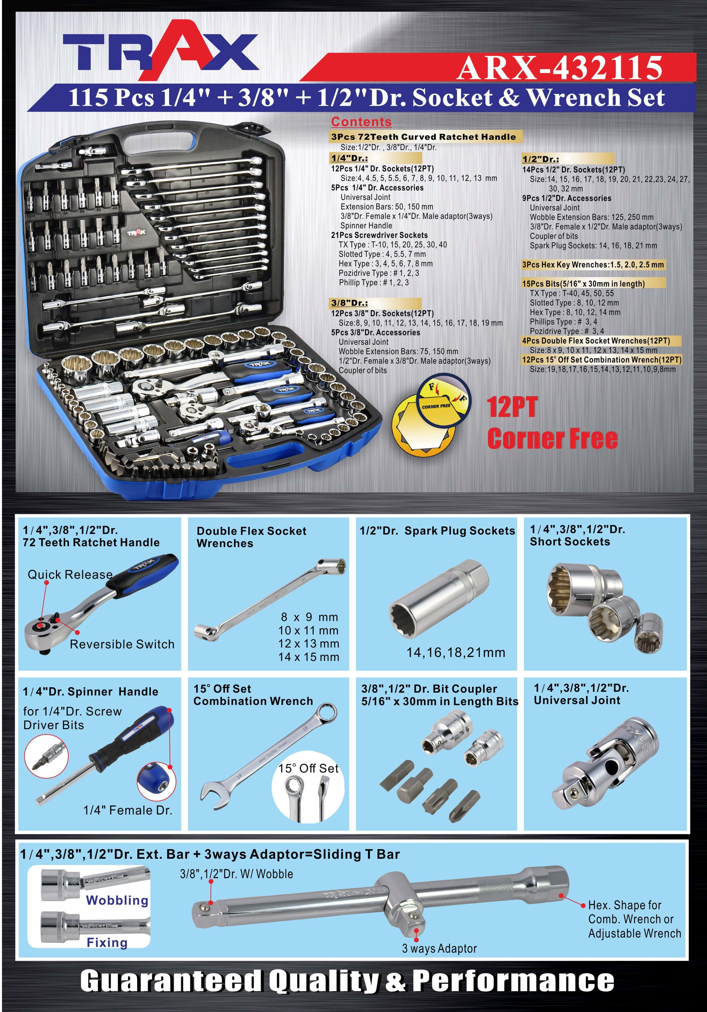 "ARX-432115 [115 PC 1/4""+ 3/8""+ 1/2″DR. Socket & Wrench Set ]"