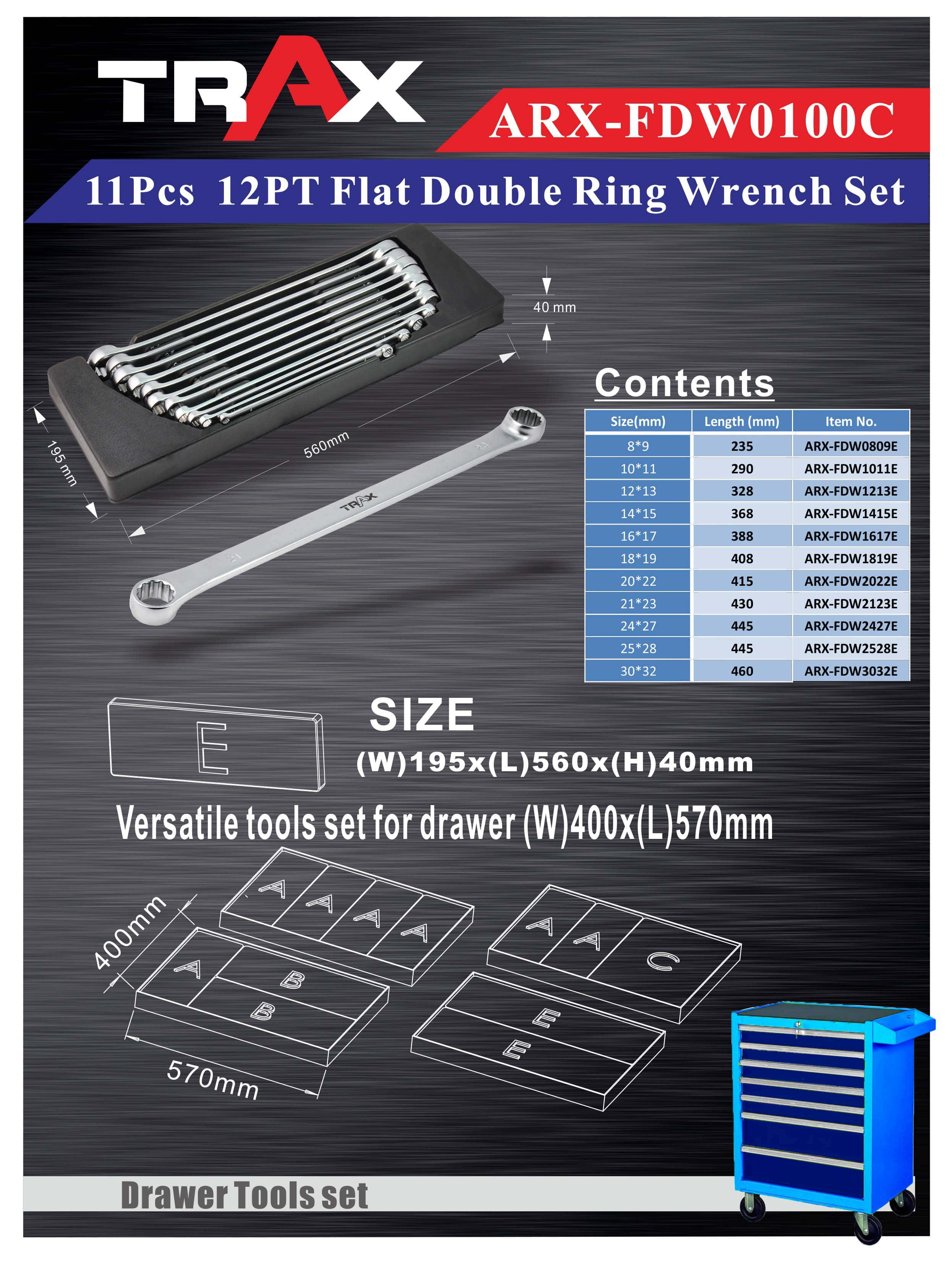ARX-FDW0100C[11Pcs 12PT Flat Double Ring Wrench Set]
